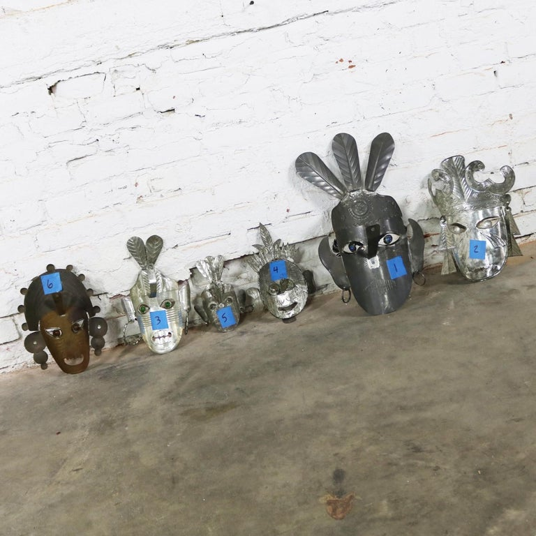 Collection of Six Tin Mexican Folk Art Masks of Varying Size Vintage For Sale 3