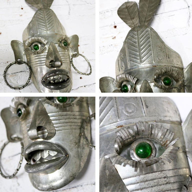Collection of Six Tin Mexican Folk Art Masks of Varying Size Vintage For Sale 5