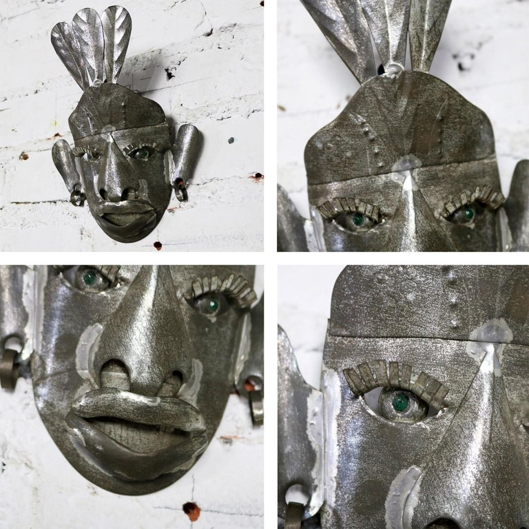 Collection of Six Tin Mexican Folk Art Masks of Varying Size Vintage For Sale 6