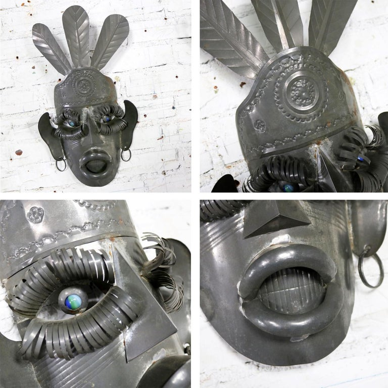 Collection of Six Tin Mexican Folk Art Masks of Varying Size Vintage For Sale 8