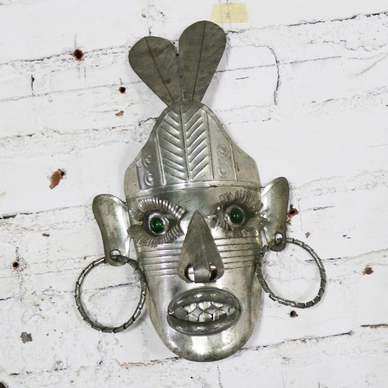 Collection of Six Tin Mexican Folk Art Masks of Varying Size Vintage For Sale 10