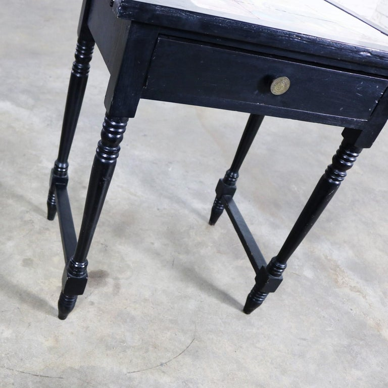 Vintage Black Turned Leg Drawered End Table with Matador & Bull Tile Insert Top For Sale 4