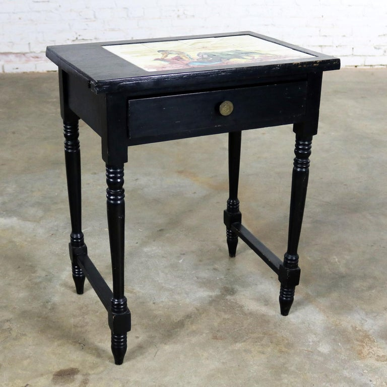 Spanish Colonial Vintage Black Turned Leg Drawered End Table with Matador & Bull Tile Insert Top For Sale
