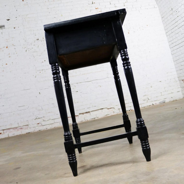 Vintage Black Turned Leg Drawered End Table with Matador & Bull Tile Insert Top For Sale 1