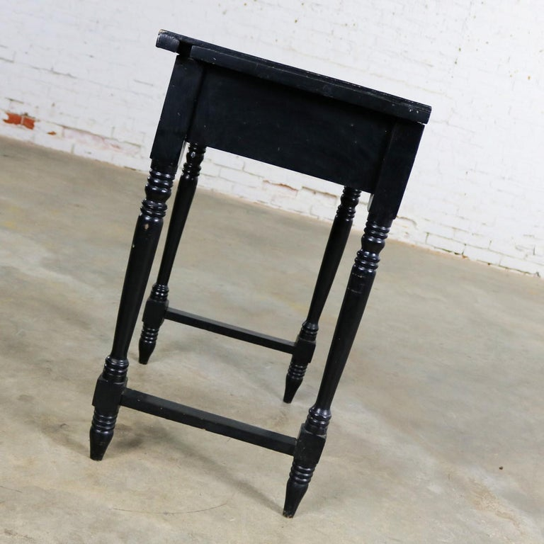 Ceramic Vintage Black Turned Leg Drawered End Table with Matador & Bull Tile Insert Top For Sale