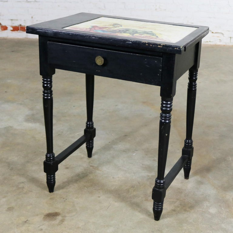 Vintage Black Turned Leg Drawered End Table with Matador & Bull Tile Insert Top In Distressed Condition For Sale In Topeka, KS