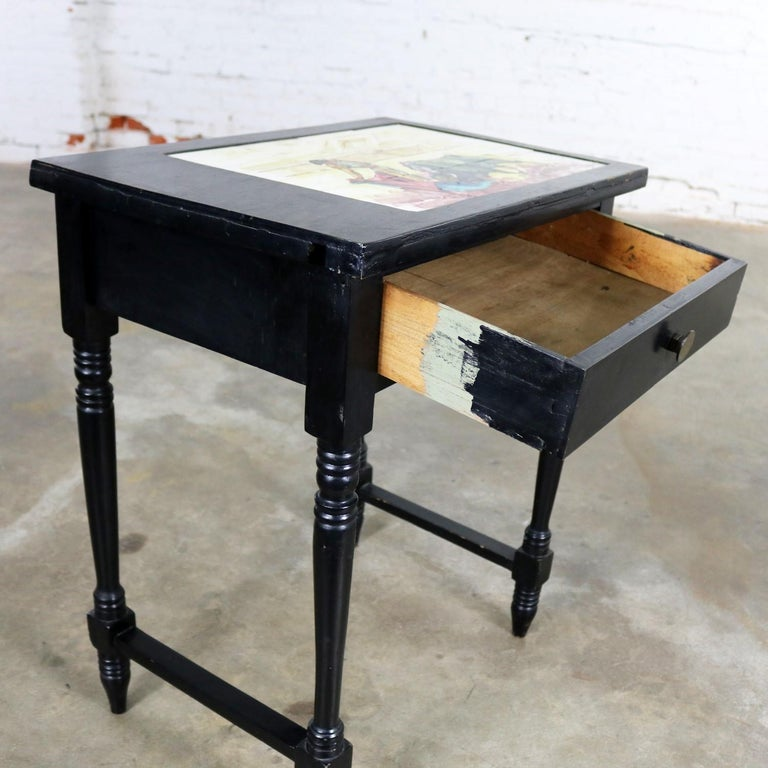 Vintage Black Turned Leg Drawered End Table with Matador & Bull Tile Insert Top For Sale 2