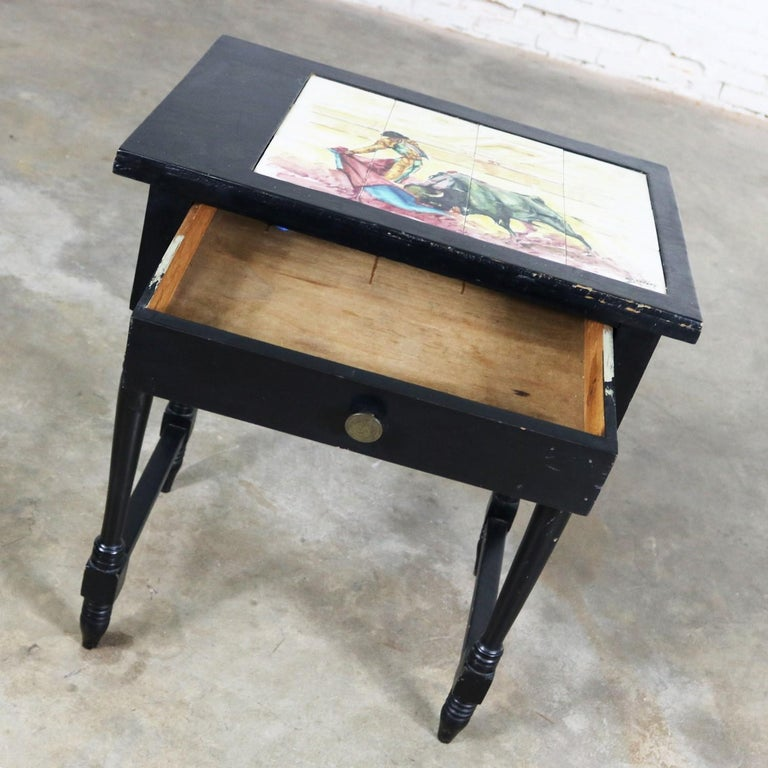 Vintage Black Turned Leg Drawered End Table with Matador & Bull Tile Insert Top For Sale 3
