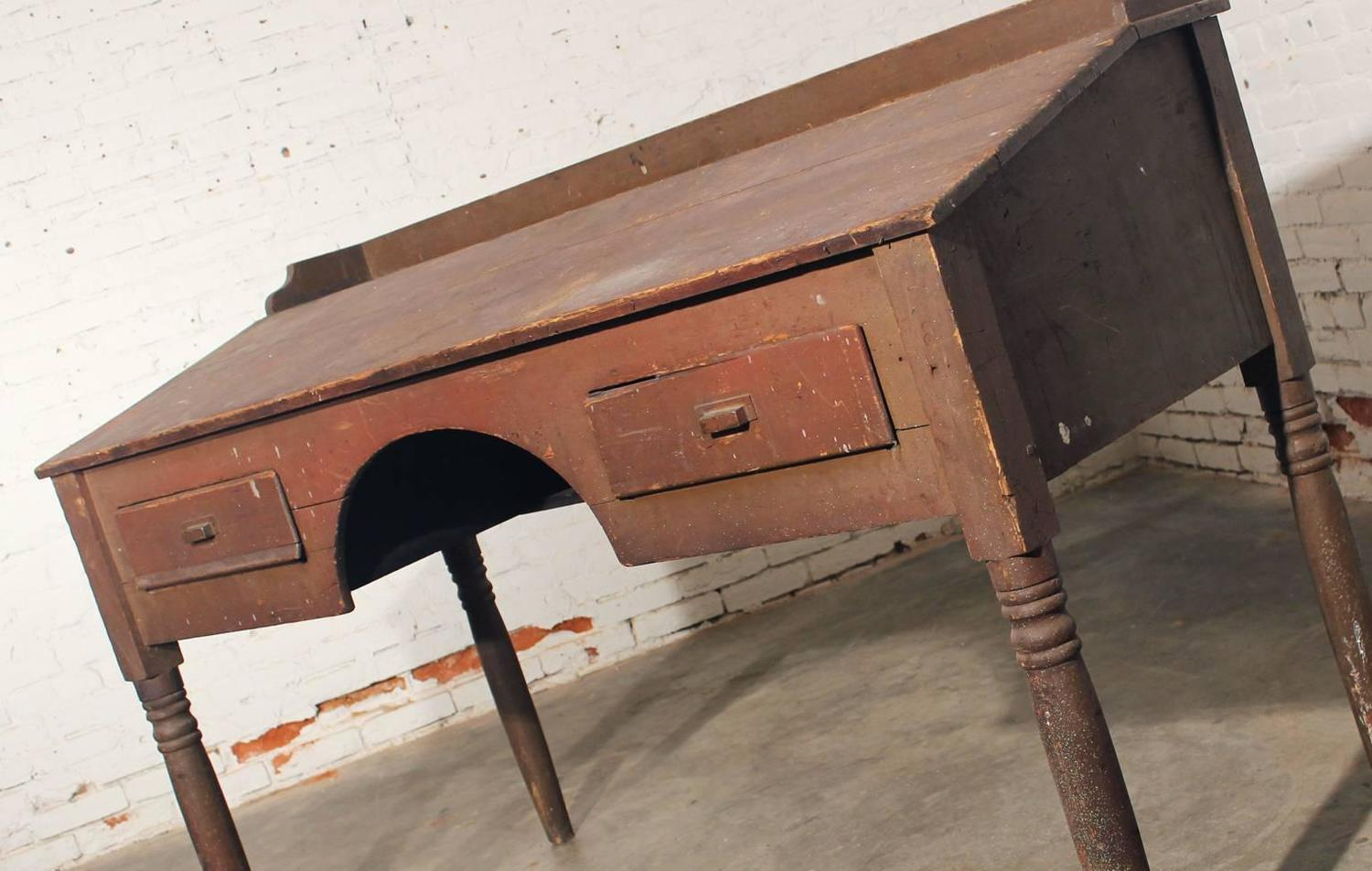Old Wooden Desk ~ Antique primitive wood standing desk for sale at stdibs
