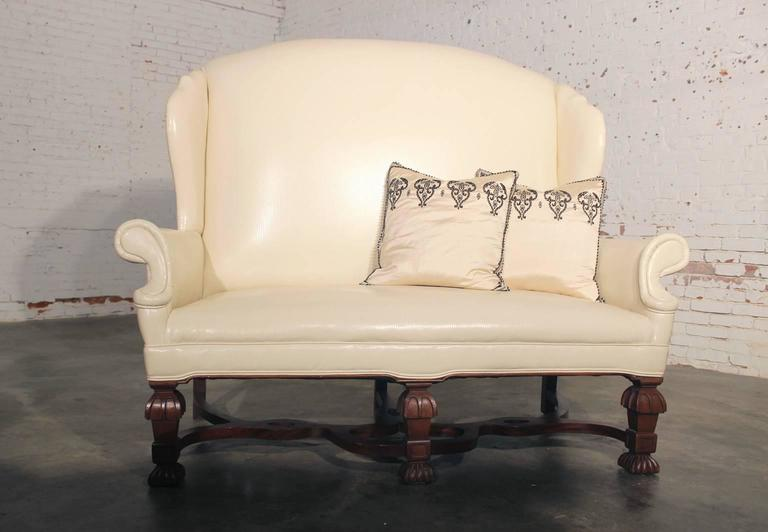 Antique William and Mary Wingback Settee For Sale 3
