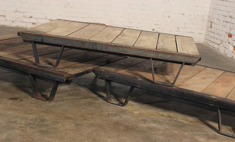 1930s Industrial Wooden Pallets Iron Rustic Frame In Distressed Condition  For Sale In Topeka, KS