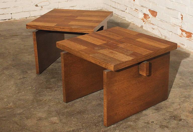 Lane Chunky Brutalist Oak End Tables 3