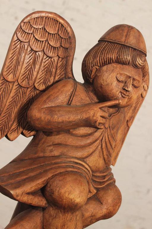 Folk Art Hand Carved Wooden Cherub Or Putta On Stand
