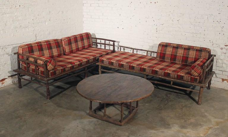 1950s Old Hickory Style Sofa Chaise And Round Coffee Or End Table
