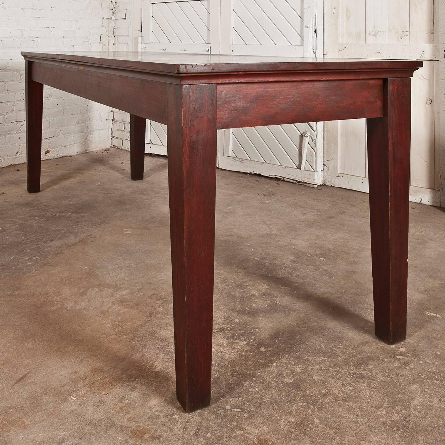 Antique Rustic Distressed Farmhouse Style Harvest Dining Or Console Table