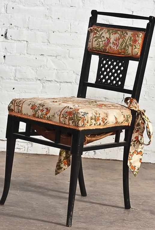 Antique Regency Chinoiserie Distressed Black Chairs, Set of Four In Distressed Condition For Sale In Topeka, KS