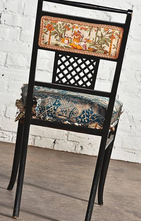 Wood Antique Regency Chinoiserie Distressed Black Chairs, Set of Four For Sale