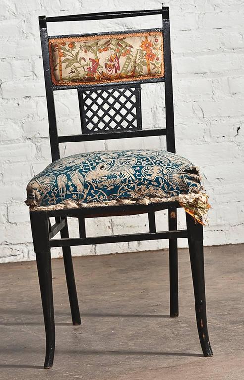 Antique Regency Chinoiserie Distressed Black Chairs, Set of Four For Sale 2