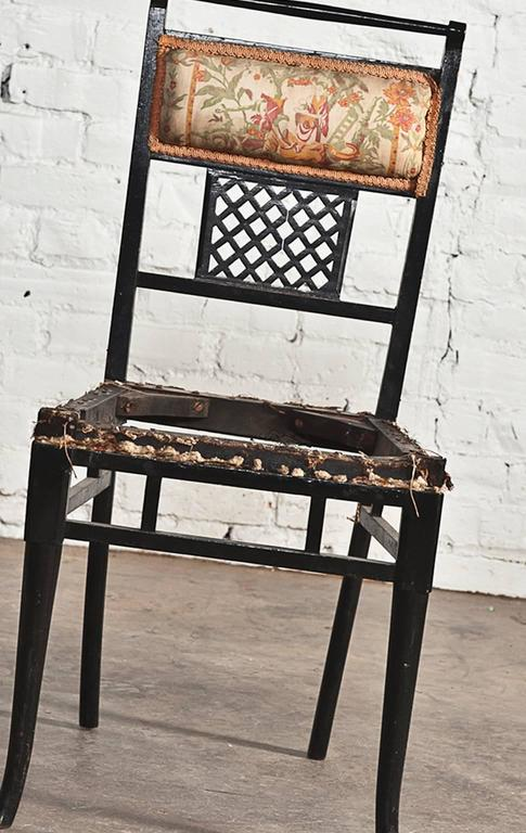 Antique Regency Chinoiserie Distressed Black Chairs, Set of Four For Sale 4