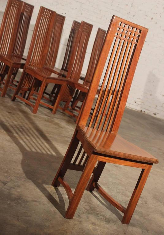 Wonderful And Beautiful Set Of Eight Solid Teak Dining Chairs In The Style  Of Charles Rennie