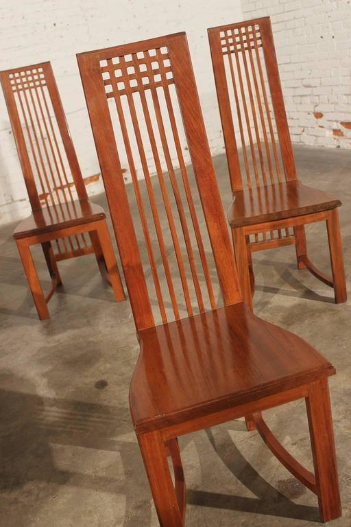 Vintage Mackintosh Style High Back Teak Dining Chairs At