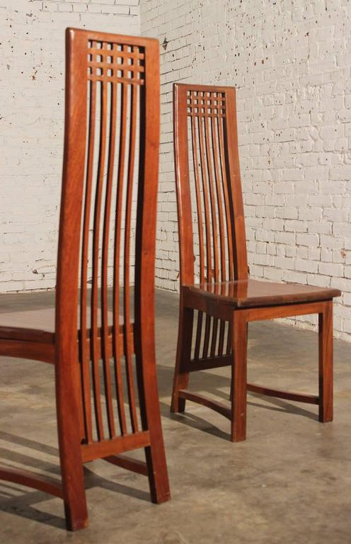 Vintage Mackintosh Style High Back Teak Dining Chairs For Sale 4