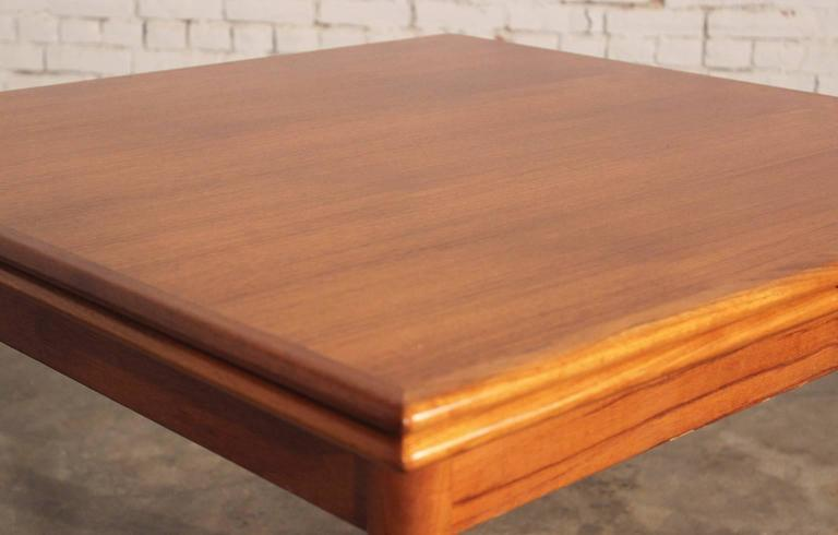 Danish Modern Teak Square Expanding Dining Table In Good Condition In Topeka, KS