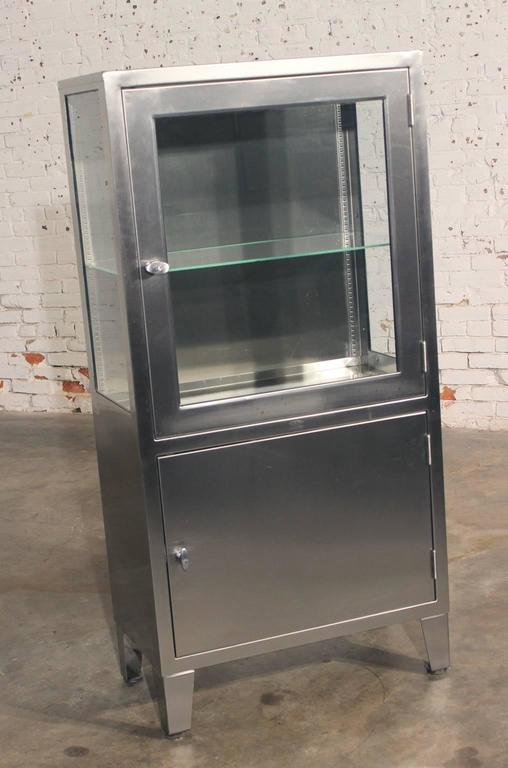 Vintage Stainless Steel Cal Cabinet Converted For Lighted Display