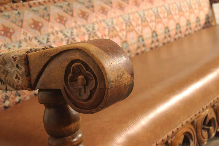 Spanish Colonial Hacienda Style Or Mexican Carved Pine And Upholstered Vintage Bench Sofa For