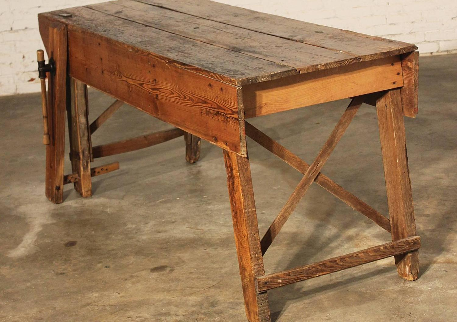 Primitive Industrial Farmhouse Style Dining Table Workbench with Wood Vise Le