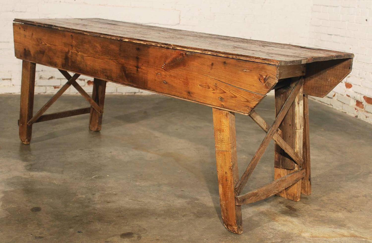 Primitive industrial farmhouse style dining table for One leg dining table