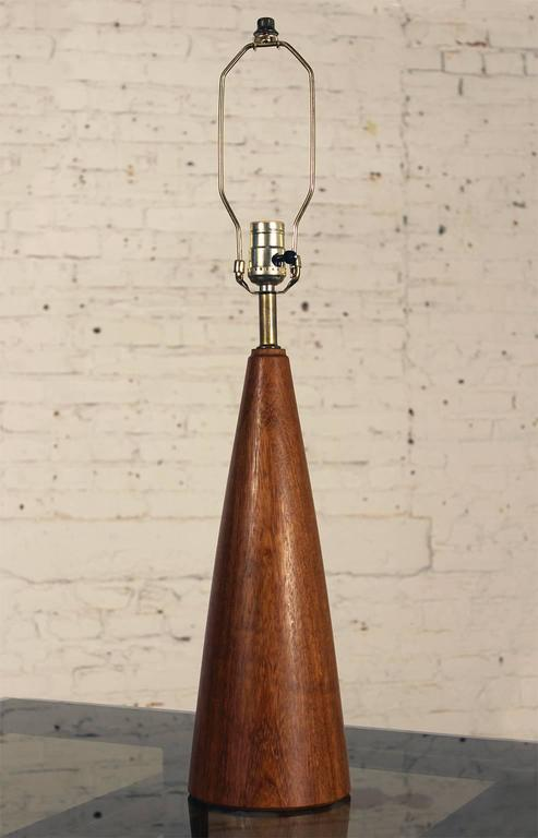 Vintage Teak Scandinavian Modern Conical Table Lamp with ...