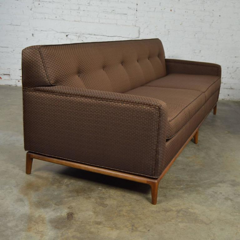 Incredible Vintage Mid Century Modern Tuxedo Style Sofa With Tufted Back On A Walnut