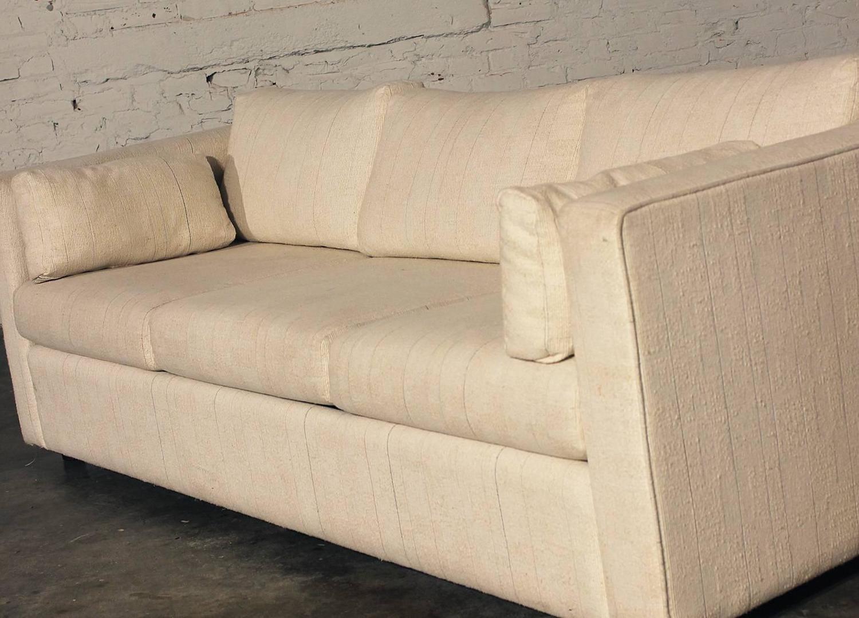 mid century modern white tuxedo style sleeper sofa for sale at 1stdibs. Black Bedroom Furniture Sets. Home Design Ideas