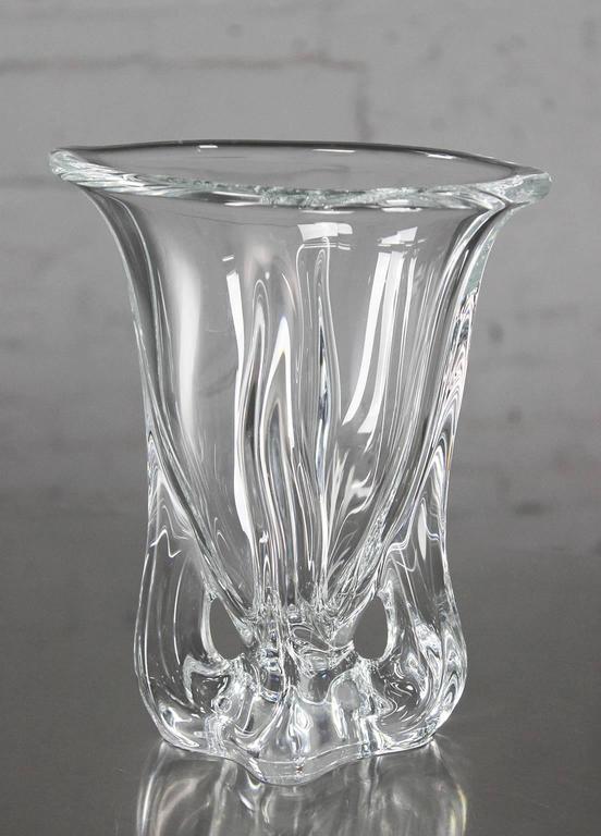 Vintage Mid Century Modern Art Glass Vannes Le Chatel Crystal Vases