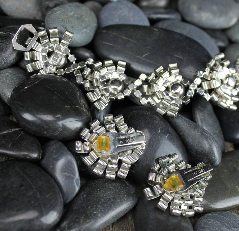 Vintage Hobé Silver-Tone and Rhinestone Bracelet and Earrings For Sale 5