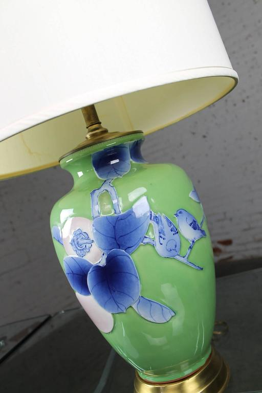 Vintage Large Ceramic Green Vase Lamp With Blue And