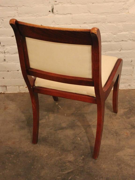 Faux Leather Set of Six Vintage Regency Style Dining Chairs For Sale