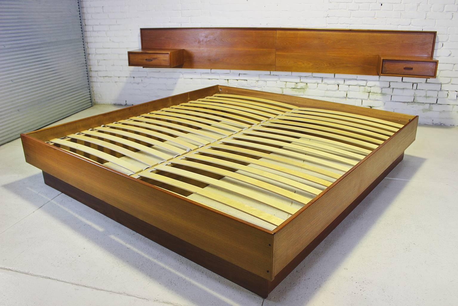 Vintage Scandinavian Modern Teak King Platform Bed With Attached Nightstands At 1stdibs