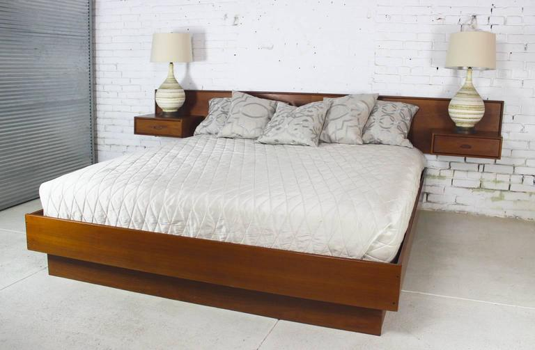 Vintage Scandinavian Modern Teak King Platform Bed With Attached Nightstands For 5