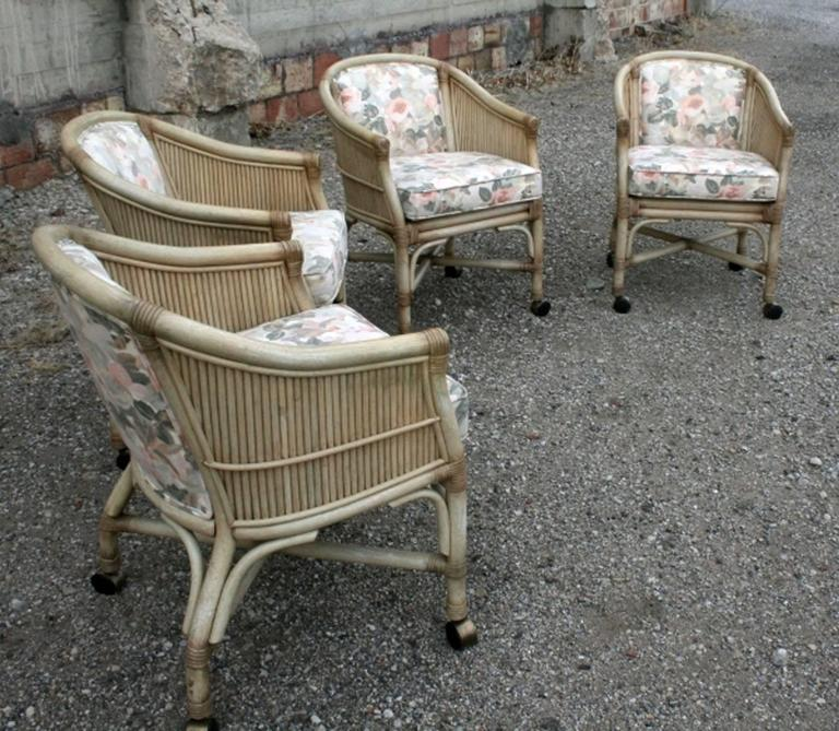 Vintage Mcguire Rattan Rolling Game Chairs Set Of Four At