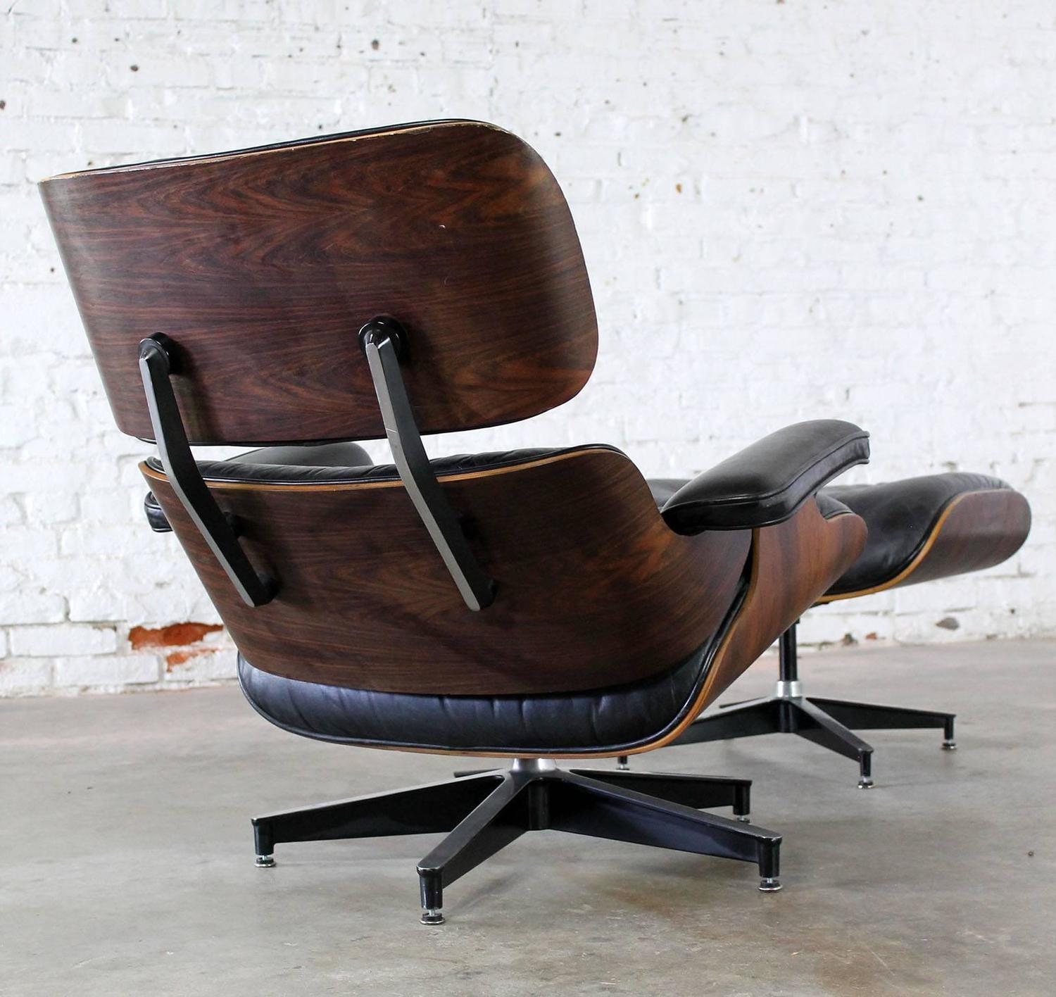 Vintage Herman Miller Eames Lounge Chair and Ottoman in Black Leather and Ros