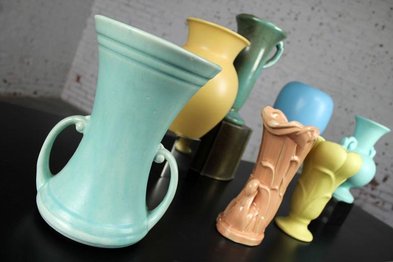 Vintage Collection of Seven Mid-Century Pottery Vases Various Makers In Good Condition In Topeka, KS