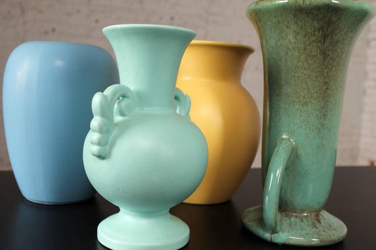 Vintage Collection of Seven Mid-Century Pottery Vases Various Makers 1