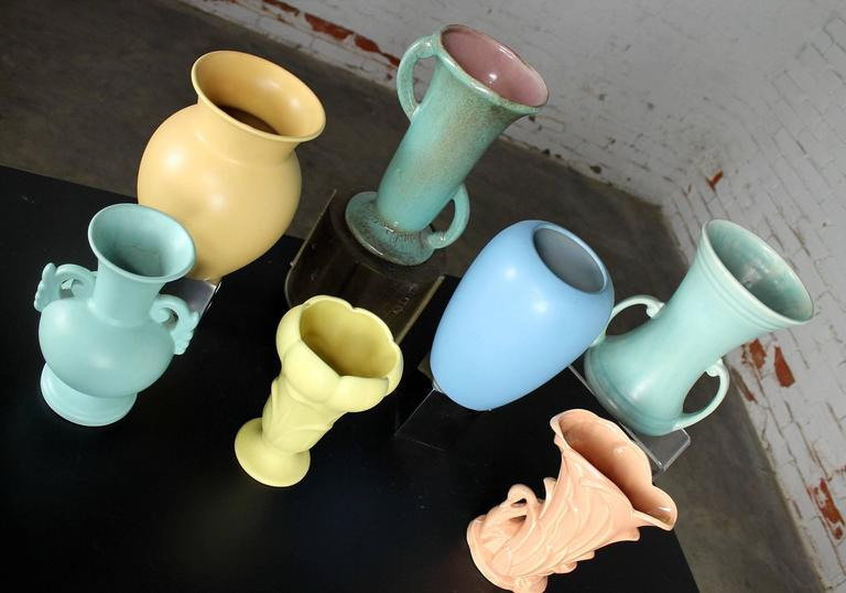 Vintage Collection of Seven Mid-Century Pottery Vases Various Makers 4