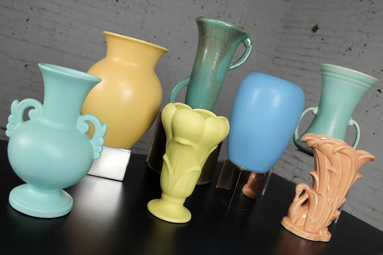 Vintage Collection of Seven Mid-Century Pottery Vases Various Makers 5
