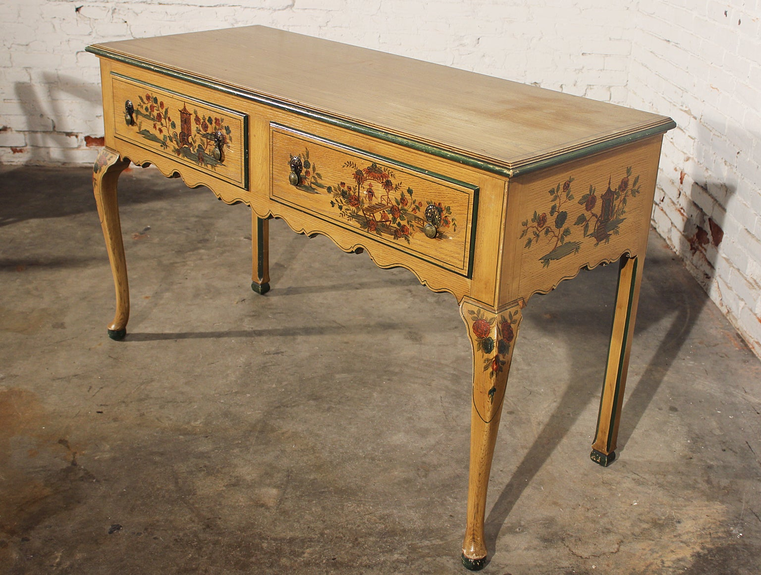 Antique Chinoiserie Hand Painted Hunt Style Buffet Server With Cabriole Legs For At 1stdibs