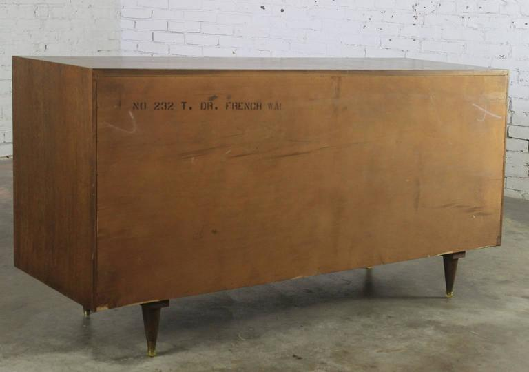 American Mid-Century Modern Walnut Low Dresser Chest of Drawers by National Furniture Co. For Sale