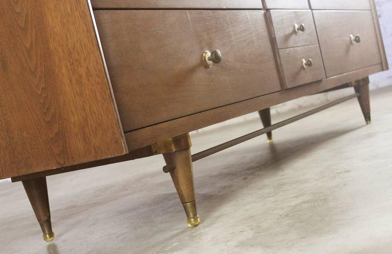 Mid-Century Modern Walnut Low Dresser Chest of Drawers by National Furniture Co. For Sale 1
