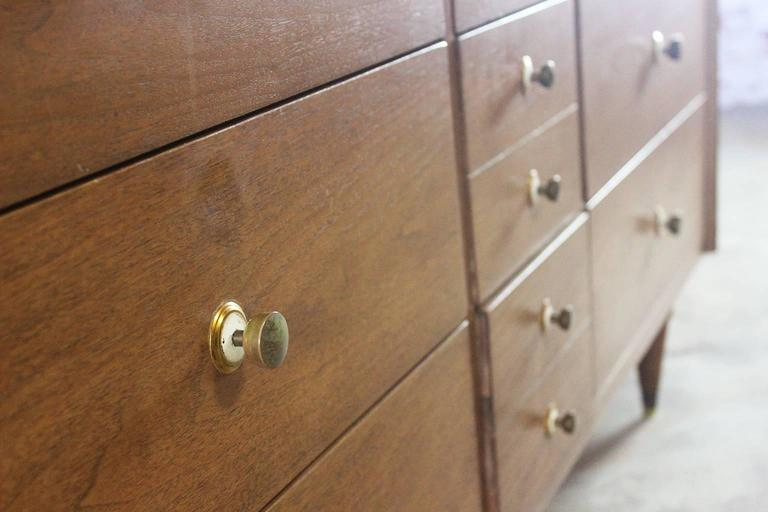 Mid-Century Modern Walnut Low Dresser Chest of Drawers by National Furniture Co. For Sale 2